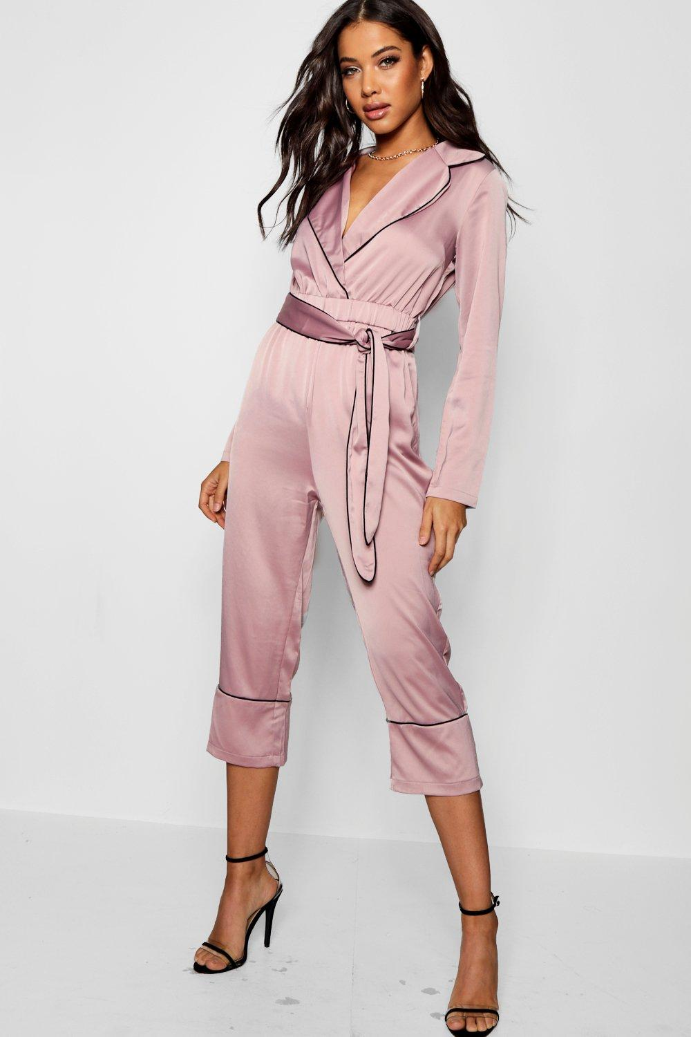 f966dde3d07b Pajama Style Satin Belted Culotte Jumpsuit. Hover to zoom