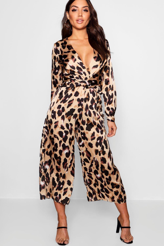 con pronunciado de collar estampado cruzado y leopardo marrón Mono fPFSP