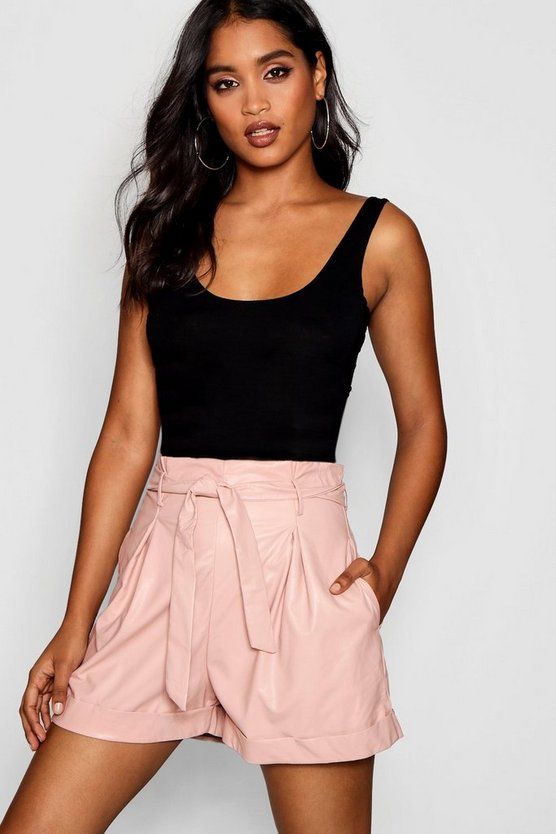 High Waisted Tie Belt Leather Look Shorts High Waisted Tie Belt Leather Look Shorts by Boohoo