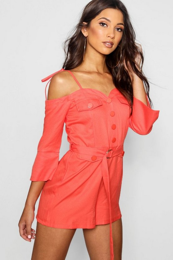 Cold Shoulder Button Detail Playsuit