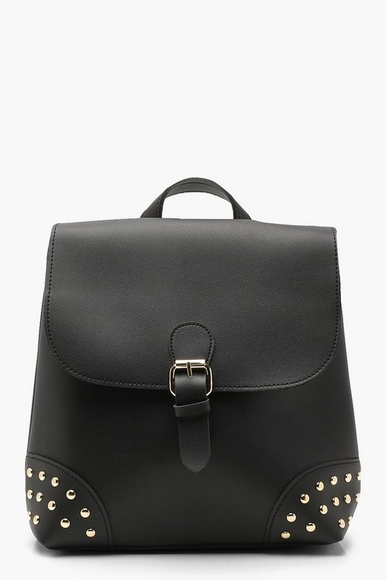 Womens Black Stud And Buckle Rucksack