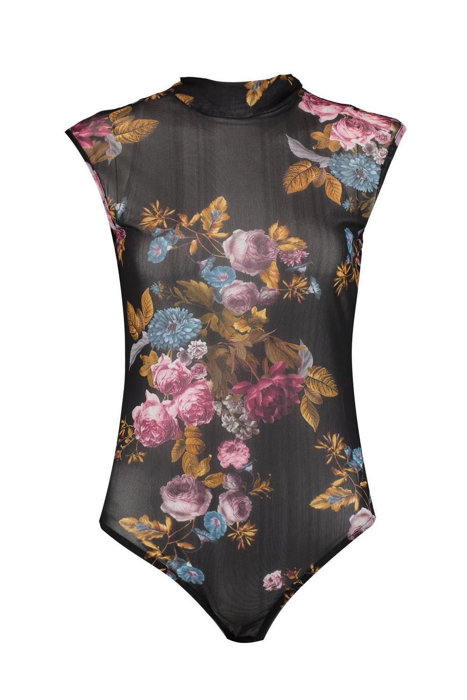 Bodysuit black Mesh Floral Bethany Bethany black Bodysuit Mesh Floral gw6xvHppn