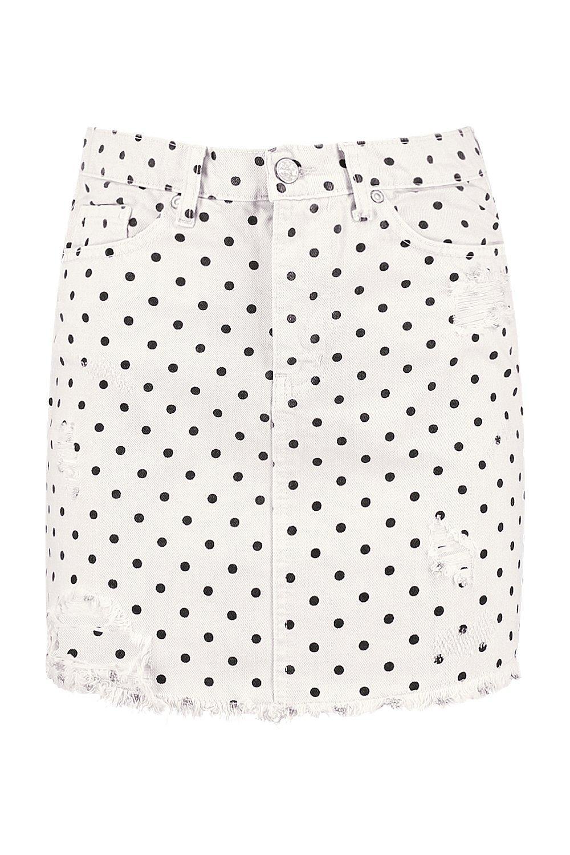 blanco lunares denim en Minifaldas de YqpZwyf