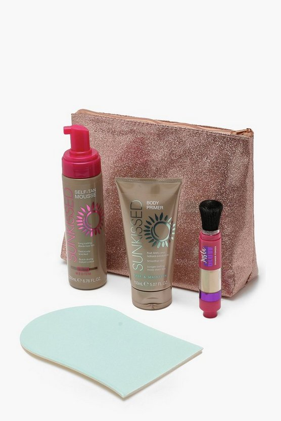 Womens Pink Sunkissed 5 Piece Glow Tanning Kit