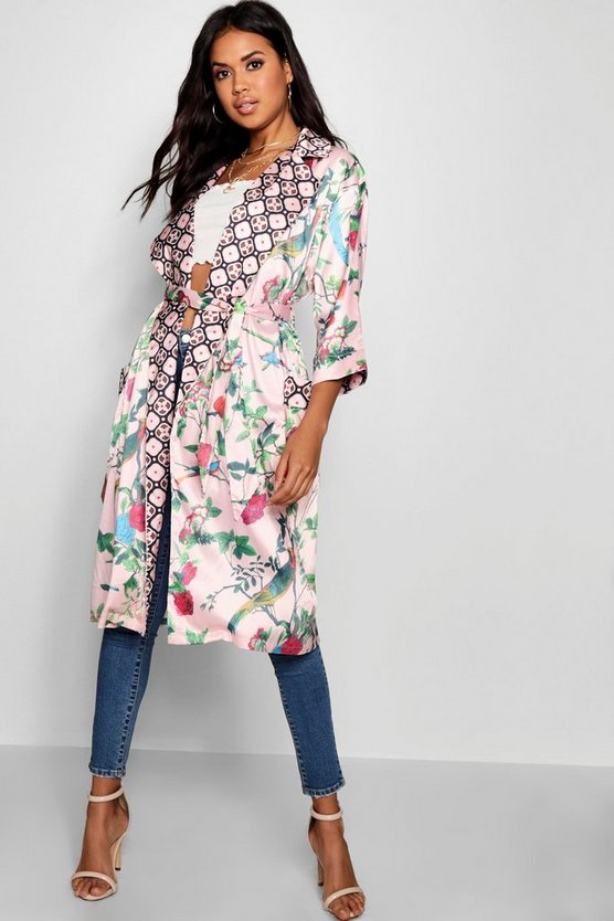 Contrast Floral Belted Kimono