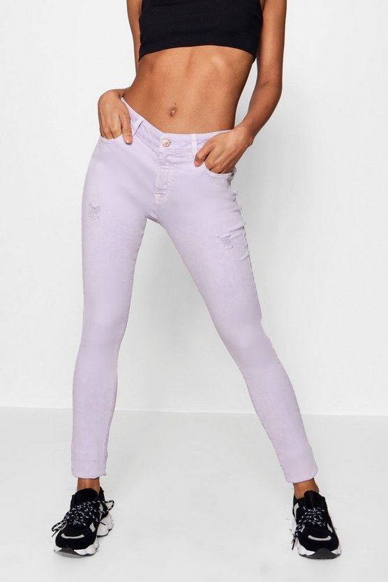 Lilac Distressed Skinny Jeans