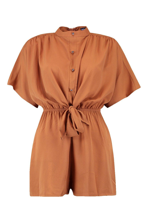 corto con rojo frontales botones de manga anaranjado Heidi de kimono Mono AqaUxa