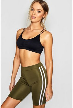 Womens Khaki Fit Side Stripe Cycling Shorts