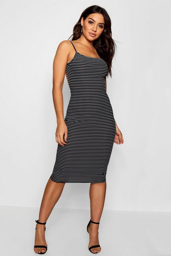 Mel Low Back Striped Ribbed Midi Dress