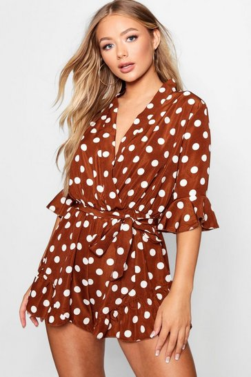 Womens Rust Polka Dot Wrap Front Playsuit