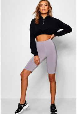 Charcoal Double Layer High Waist Cycling Shorts