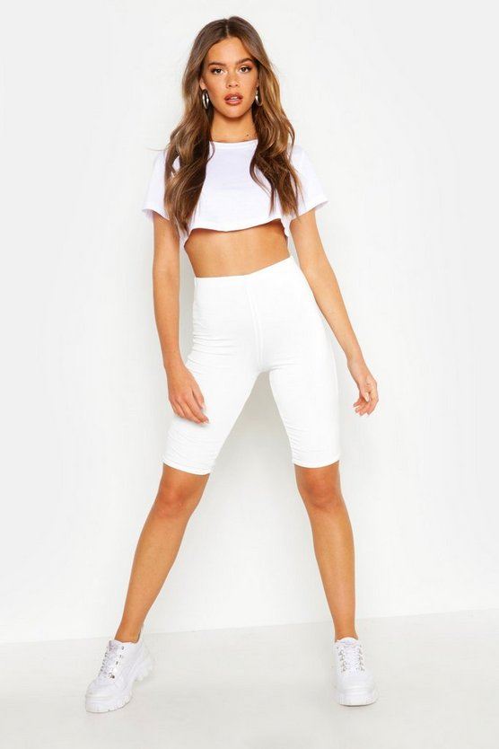 Womens White Double Layer High Waist Cycling Shorts