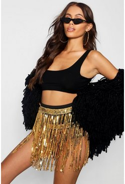 Womens Black Philippa Premium Sequin Tassel Hotpant