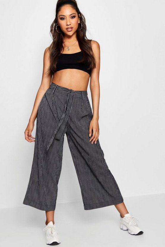 Edwina Stripe Self Belt Woven Culotte Trouser