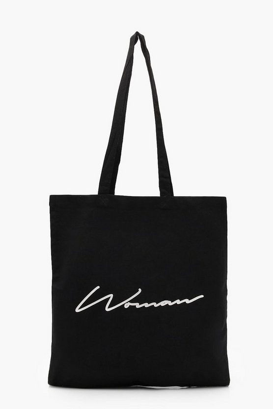 Womens Black WOMAN Script Canvas Shopper