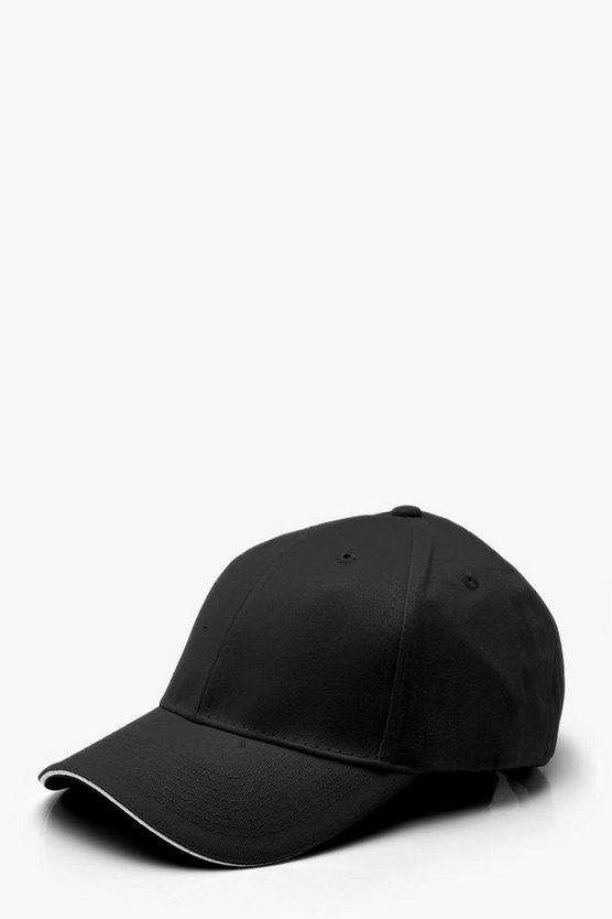 Womens Black Plain Cap With Brim Detail