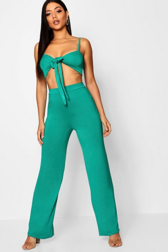 Tie Front Top & Wide Leg Trouser Co-ord