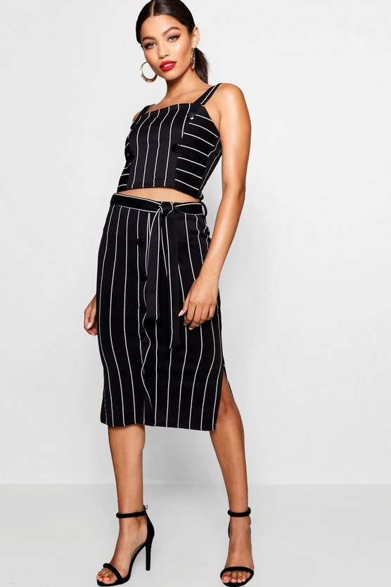 Mary-Lou Button Detail Pinstripe Skirt Co-ord