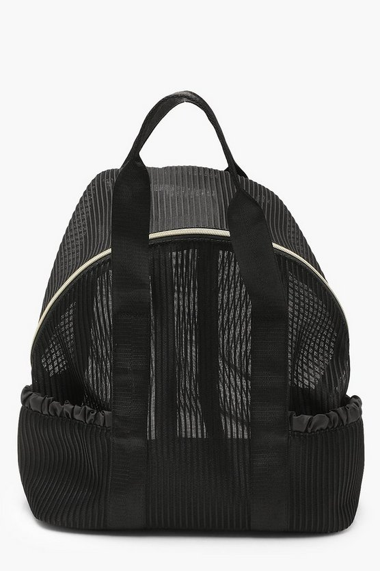 Womens Black Pleated Mesh Sports Rucksack