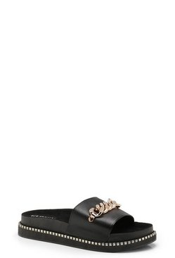 Womens Black Chain Trim Sliders