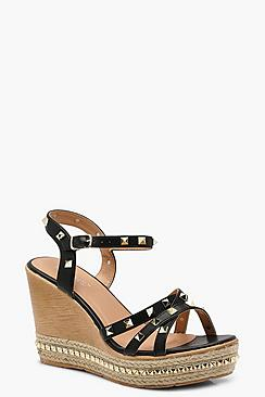 Studded Strappy Wedges