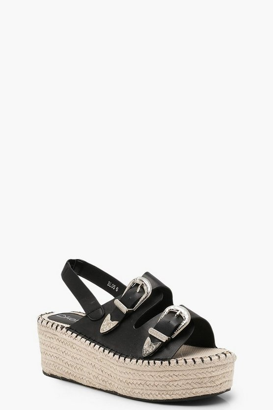 Womens Black Buckle Espadrille Wedges