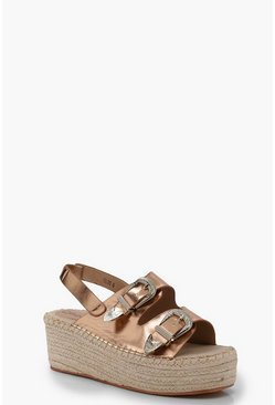 Womens Rose gold Buckle Espadrille Wedges