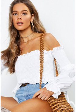 Womens White Shirred Ruffle Hem Bardot Top