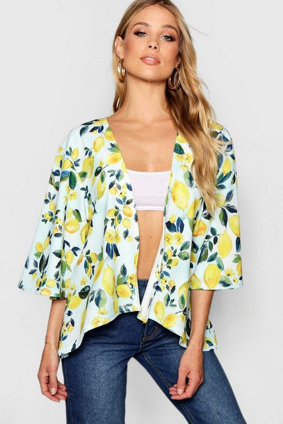 Womens Blue Brooke Angel Sleeve Lemon Print Kimono