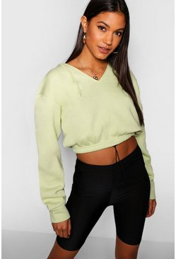 Womens Lime Drawcord Cropped Hoody