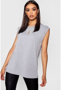 Womens Grey marl Basic Oversized Vest