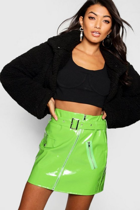 Green High Shine Vinyl A Line Skirt