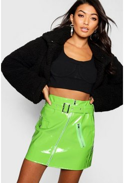 Womens Green High Shine Vinyl A Line Skirt