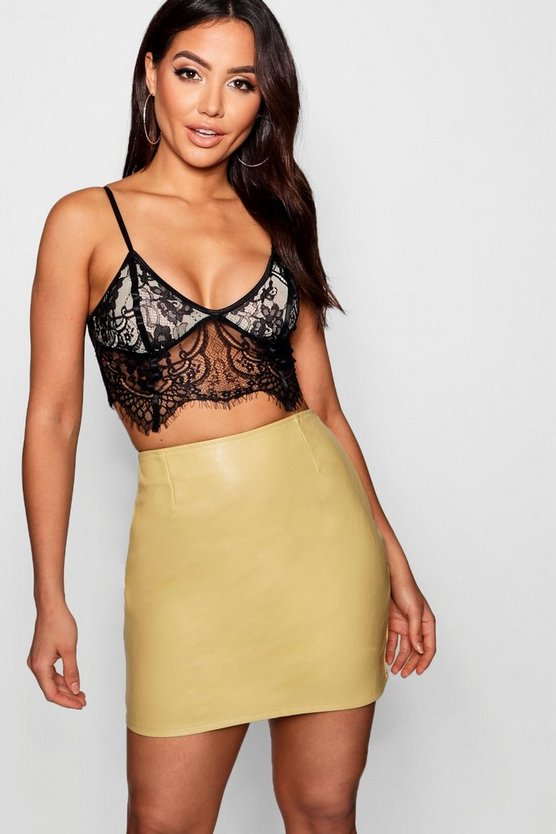 Eva Woven Leather Look A Line Mini Skirt