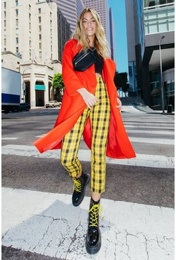 Womens Yellow Woven Tartan Zip Front Check Slim Leg Trousers