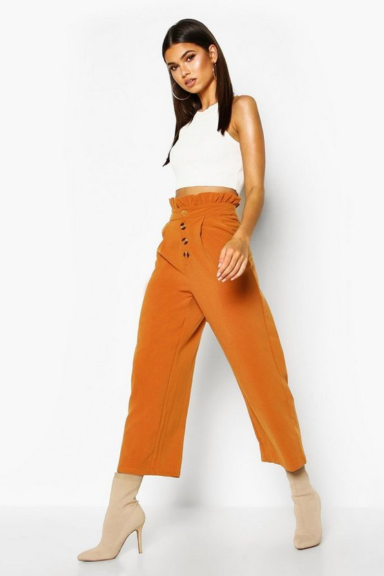 Woven Button Front Culotte Trousers