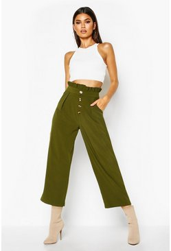 Khaki Woven Button Front Culotte Trousers