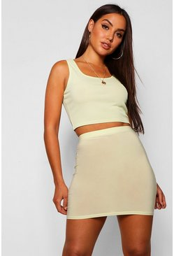 Womens Green Slinky Mini Skirt