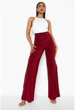 Womens Berry High Waist Slinky Wide Leg Trousers