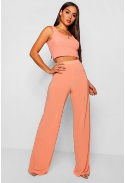 Coral High Waist Slinky Wide Leg Trousers