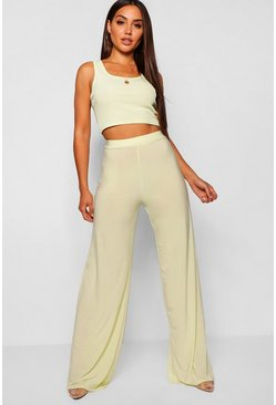 Womens Lime High Waist Slinky Wide Leg Trousers