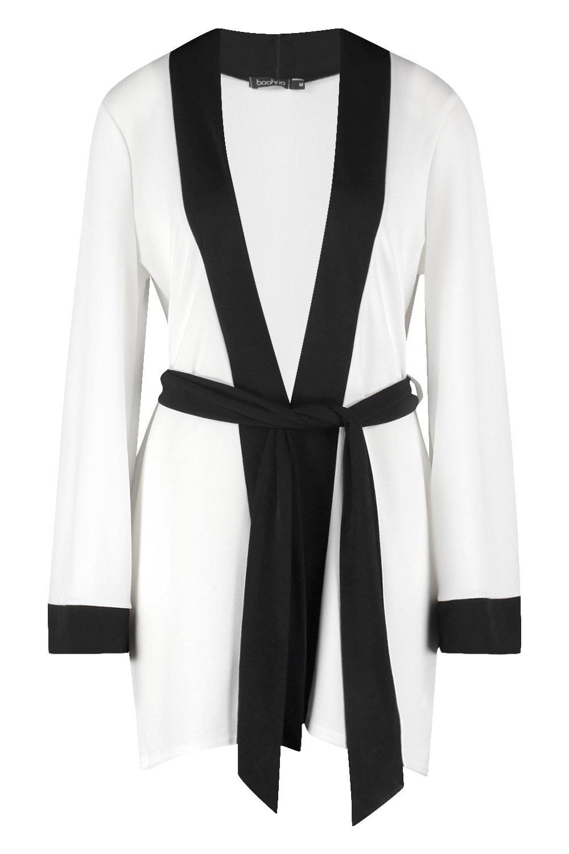Kimono adorno en Beth blanco cinturón con y contraste trqr7Sw