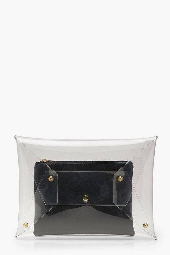 Clara Clear Clutch With Under Bag