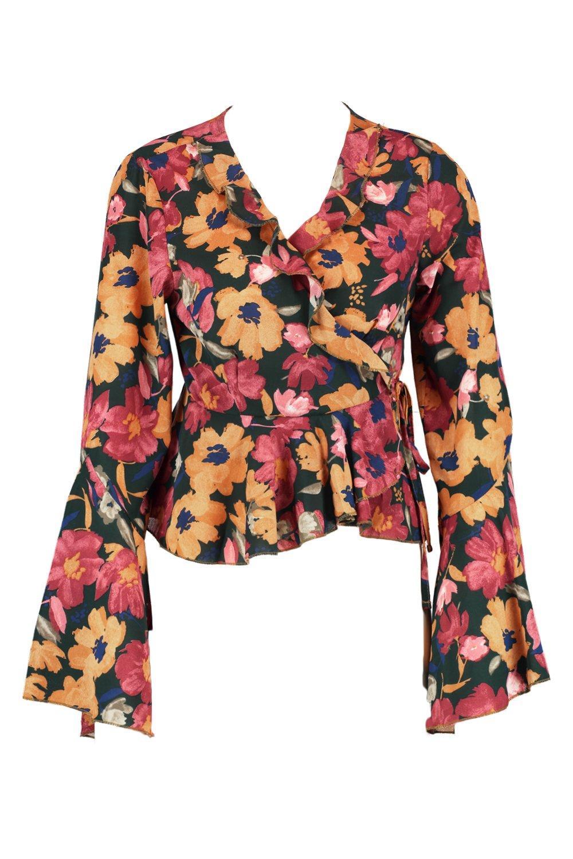 atado floral volante con en Blusa naranja cintura la qtp4wxfC