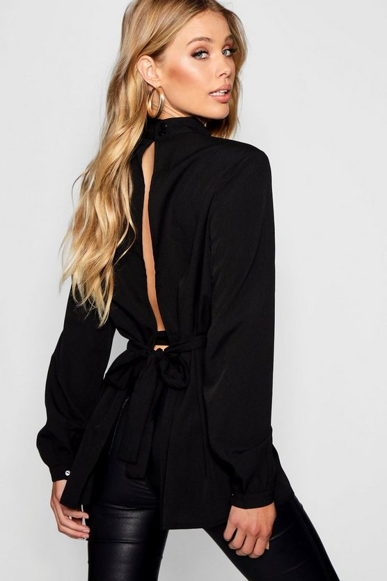 Eliza Open Back Tie Blouse