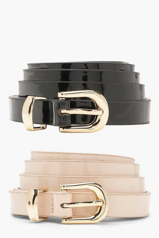 Womens Multi Tilly Two Pack Patent Skinny Belts