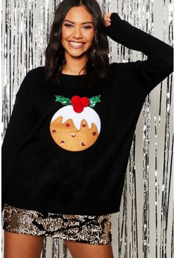 Black Applique Pom Pom Christmas Pudding Jumper