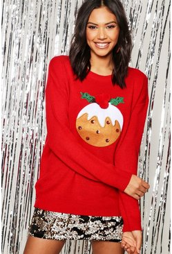 Womens Red Christmas Pudding Applique Jumper With Pom Pom