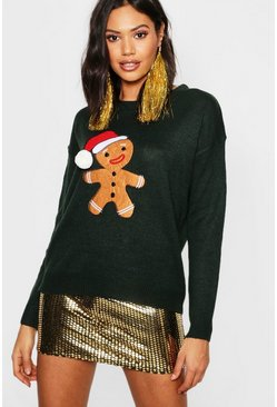 Womens Forest Gingerbread Man Applique Jumper With PomPom