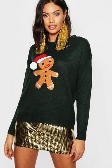 Womens Forest Gingerbread Man Pom Pom Christmas Jumper
